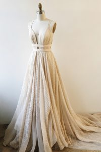 Champagne A-line Lace V-neck Sleeveless Lace and Sashes ribbons With Train Backless Pageant Dress for Teens Court Train
