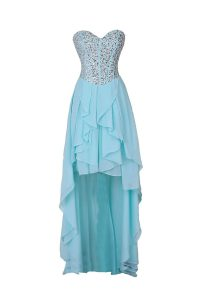 Sleeveless Chiffon High Low Zipper Pageant Dresses in Blue with Beading
