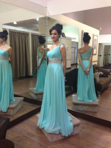 Best Selling One Shoulder Chiffon Sleeveless Glitz Pageant Dress Sweep Train and Beading