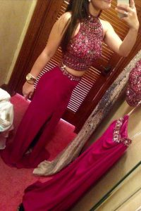 Fuchsia Pageant Dress Prom with Beading High-neck Sleeveless Zipper