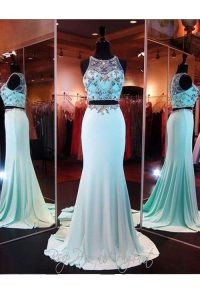 Nice Scoop Baby Blue Sleeveless With Train Beading and Appliques Zipper Custom Made Pageant Dress