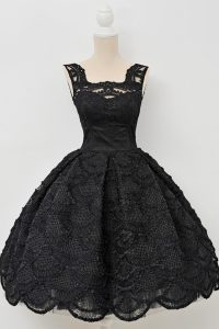 Fancy Black Sleeveless Lace Zipper Pageant Dress Womens for Prom and Party