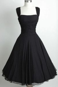 Admirable Sleeveless Chiffon Tea Length Side Zipper Pageant Dress Womens in Black with Ruching