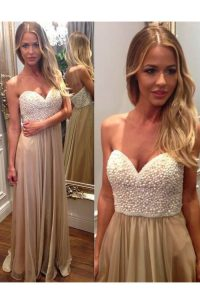 Fitting Champagne Sweetheart Zipper Beading and Ruching Pageant Dress Sleeveless