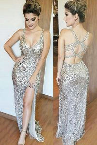 Sequins Mermaid Winning Pageant Gowns Silver V-neck Sequined Sleeveless Floor Length Backless