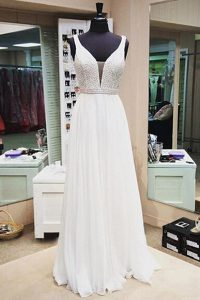 Super White Sleeveless Beading Floor Length Pageant Gowns