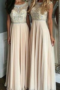 Vintage Cap Sleeves Chiffon Floor Length Side Zipper High School Pageant Dress in Champagne with Beading