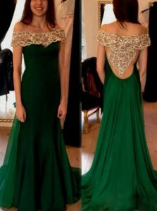 Vintage Dark Green Column/Sheath Off The Shoulder Short Sleeves Chiffon Sweep Train Side Zipper Beading and Pleated Pageant Dress for Teens