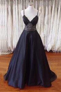 Simple Black A-line Satin Spaghetti Straps Sleeveless Beading With Train Backless Pageant Dress Womens Sweep Train