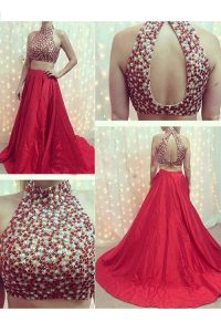 Nice Red Elastic Woven Satin Backless High-neck Sleeveless With Train Evening Gowns Court Train Beading
