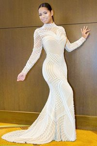 Attractive Mermaid White Long Sleeves Beading Backless Pageant Dress for Womens