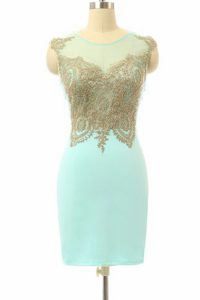Superior Chiffon Bateau Sleeveless Side Zipper Lace Pageant Dress Womens in Turquoise