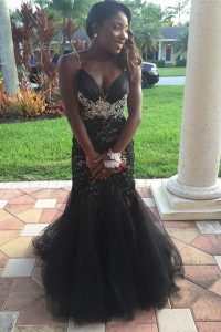 Extravagant Mermaid Black Sleeveless Tulle Zipper Pageant Dress Wholesale for Prom and Party