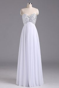 Fantastic Chiffon Sweetheart Sleeveless Lace Up Beading and Ruching Evening Gowns in White