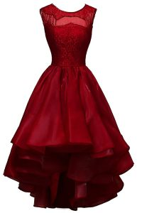 Fancy Bateau Sleeveless Zipper Pageant Gowns Wine Red Organza