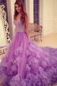 Fashionable Lavender A-line Sweetheart Sleeveless Tulle With Train Court Train Backless Beading and Hand Made Flower Pageant Dresses