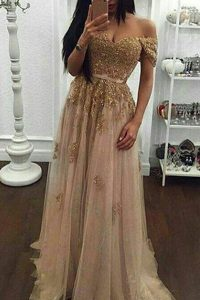 Great Off the Shoulder Champagne A-line Beading and Appliques Pageant Dress for Womens Zipper Tulle Short Sleeves With Train