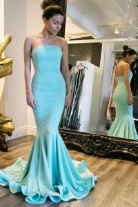 Mermaid Strapless Sleeveless Pageant Dress Wholesale With Train Sweep Train Ruching Baby Blue Elastic Woven Satin