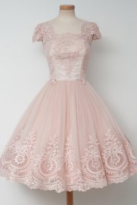 Noble Baby Pink Pageant Dress Wholesale Prom and Party with Lace Square Cap Sleeves Zipper