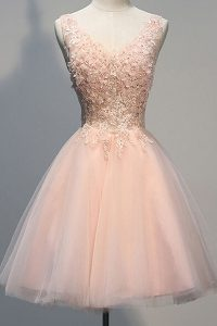 Peach A-line V-neck Sleeveless Tulle Knee Length Zipper Appliques Pageant Dress for Womens