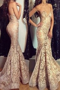 Fine Mermaid Lace Zipper Pageant Gowns Champagne for Prom with Pleated Sweep Train