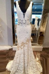 Mermaid Sleeveless Lace Sweep Train Zipper Glitz Pageant Dress in White with Beading