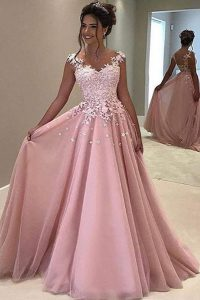 Appliques Pageant Dress Womens Pink Zipper Sleeveless With Train Sweep Train
