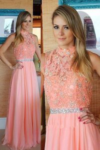 New Style Pink Chiffon Zipper Pageant Dress Womens Sleeveless Floor Length Beading and Lace