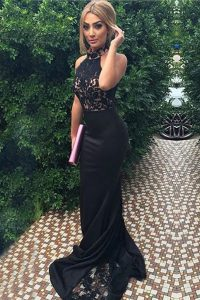 Popular Mermaid With Train Zipper Custom Made Pageant Dress Black for Prom with Lace and Appliques Sweep Train