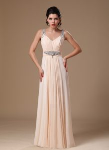 Urbane Champagne Chiffon V-neck Empire Beaded Interview Pageant Suits