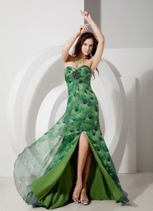 Trendy Empire Sweetheart Brush Train Printing Miss Universe Pageant Dress