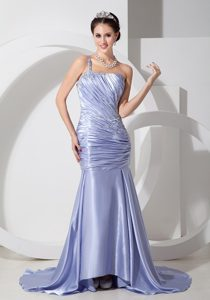 Lilac One Shoulder Tony Mermaid Pageant Dress for Miss World in Taffeta