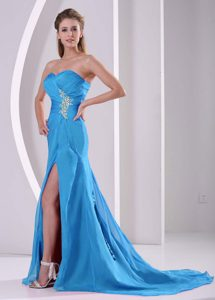 Breathtaking High Slit Light Blue Sweetheart Ruche Pageant Dresses for Girls