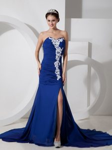 Maxi Chiffon Sweetheart Miss Mississippi Pageant Dresses in Peacock Blue