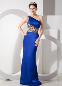 Extravagant Blue One Shoulder Interview Pageant Suit in Taffeta and Leopard
