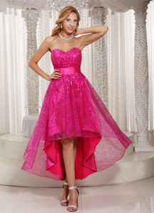 Wonderful Hot Pink High-low Prom Pageant Dress with Paillette Over Skirt