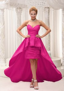 Stunning Sweetheart High-low Girl Pageant Dresses with Ruching in Hot Pink