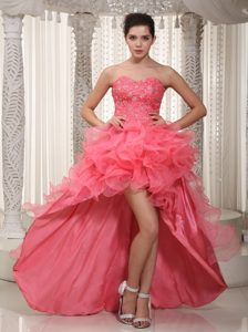 Shimmering A-line Sweetheart High-low Pageant Dresses in Watermelon Red