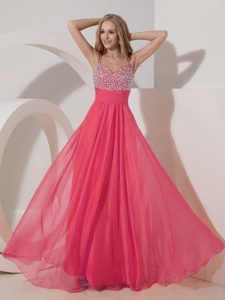 Floating Coral Red Empire Straps Chiffon Pageant Dresses for Miss America