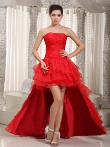 Red Strapless High-low Dressy Pageant Dresses for Miss USA in Organza