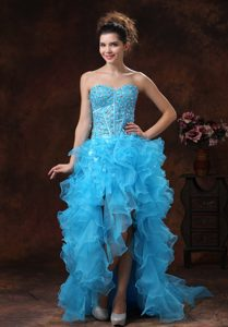 High-low Sweetheart Aqua Blue Pageant Dresses with Beading and Ruffles