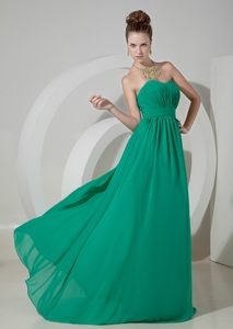 Sweetheart Brush Train Ruched Turquoise Chiffon Pageant Dresses for Miss World