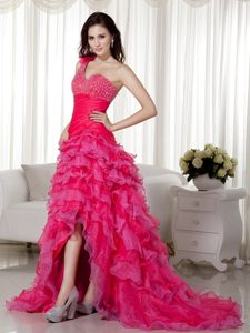 One Shoulder Brush Train Hot Pink Prom Pageant Dress with Ruffles and Beading