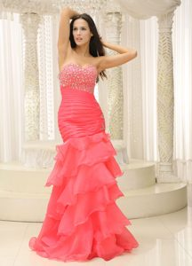 Chic Sweetheart Floor-length Watermelon Pageant Dress with Beading and Ruffles