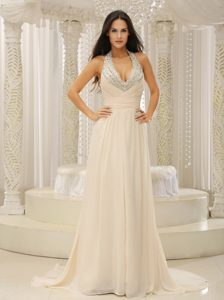Nice V-neck Halter Champagne Brush Train Ruched Beaded Chiffon Pageant Dress