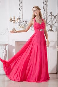 Hot Pink Halter Brush Train Ruched Chiffon Prom Pageant Dresses with Appliques