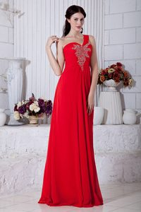 Red One Shoulder Floor-length Ruched Chiffon Pageant Dress with Beading on Sale