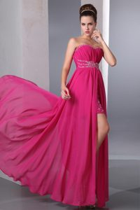 Chic Sweetheart Floor-length Hot Pink Ruched Chiffon Pageant Dress with Beading