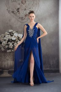 Chic V-neck Brush Train Royal Blue Ruched Chiffon Pageant Dress with Appliques