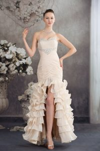 Champagne Sweetheart Ruched Beaded Pageant Dress with Ruffles and High Slit